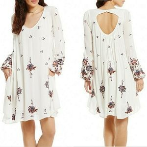 Free People Oxford Embroidered Shift Dress White